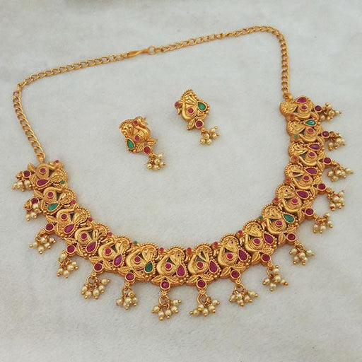 Shubham Maroon And Green Pota Stone Copper Necklace Set