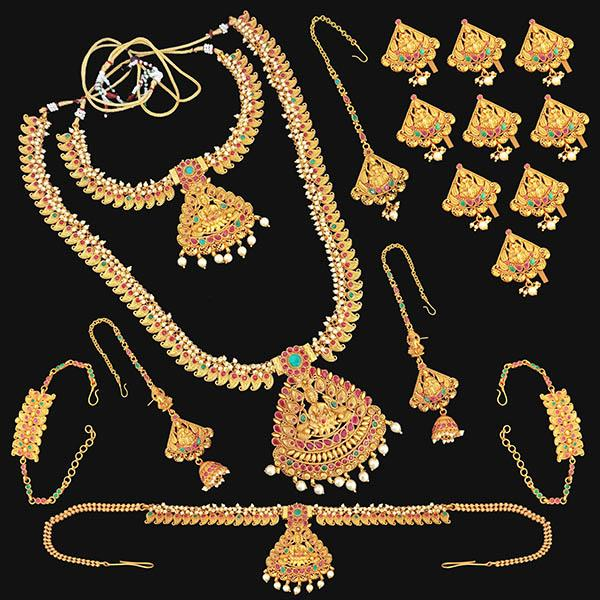 Shubham Pota Stone Copper Bridal Jewellery Set - FBK0095
