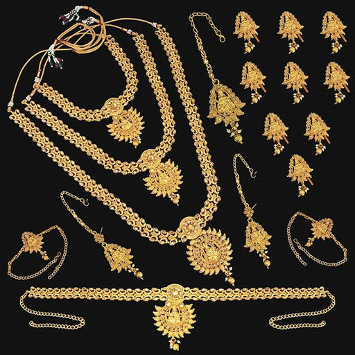 Shubham Brown Stone Copper Bridal Jewellery Set - FBK0098A