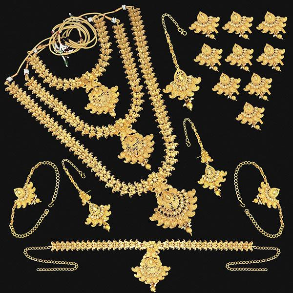Shubham Brown Stone Copper Bridal Jewellery Set - FBK0099C