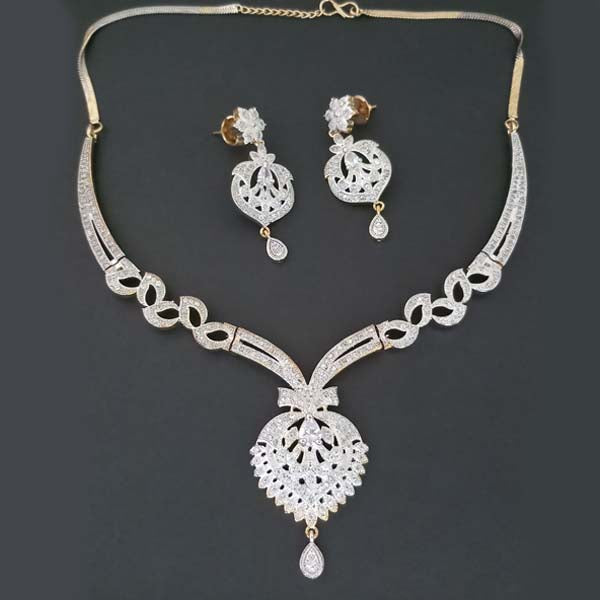 Pralhad American Diamond Brass Necklace Set