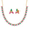 Pralhad Pink And Green Pota Stone Brass Necklace Set