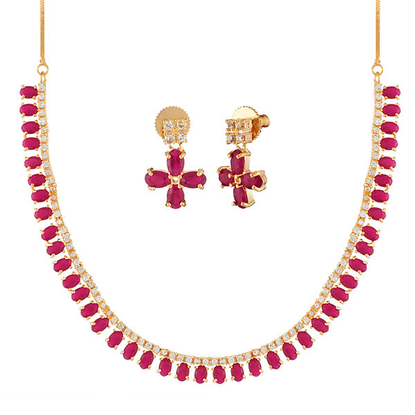 Pralhad Pink Pota Stone Brass Necklace Set