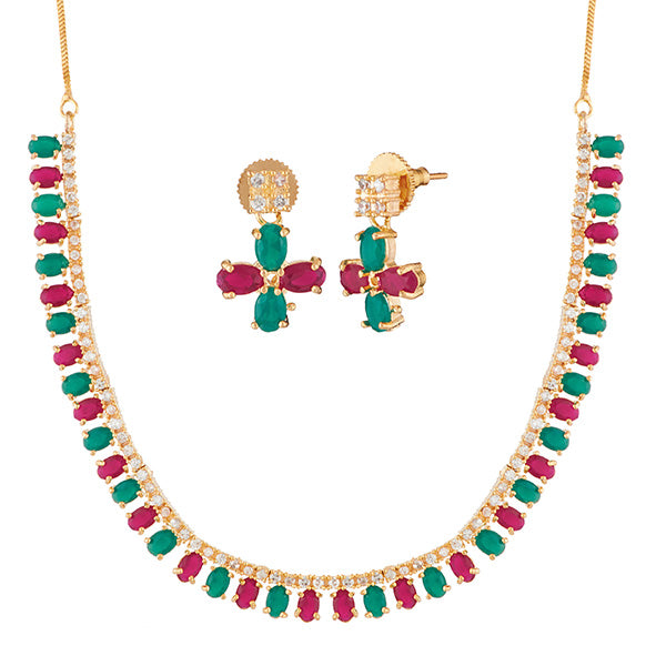 Pralhad Green And Pink Pota Stone Brass Necklace Set