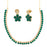 Pralhad Green Pota Stone Brass Necklace Set