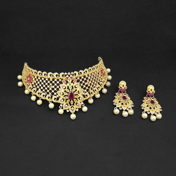 Pralhad American Diamond & Ruby Stone Brass Necklace Set