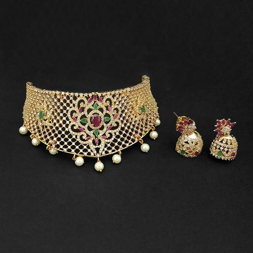 Pralhad American Diamond & Ruby And Emerald Stone Brass Necklace Set