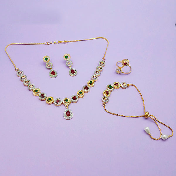 Pralhad AD Stone Necklace Set With Ring & Bracelet