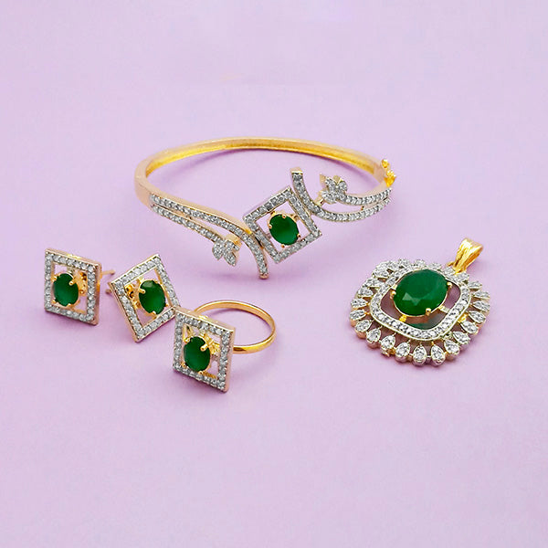 Pralhad AD Stone Earrings, Kada, Pendant And Ring