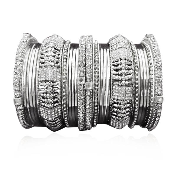 Sejal Austrian Stone Rhodium Plated Bangle Set