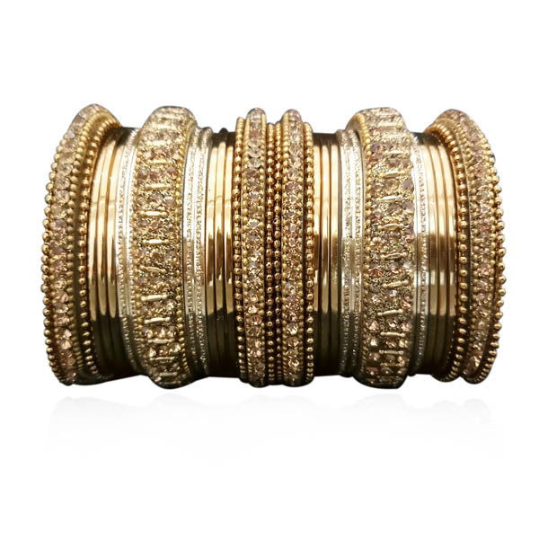 Sejal Brown Austrian Stone Gold Plated Bangle Set