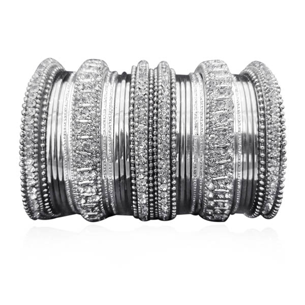 Sejal White Austrian Stone Rhodium Plated Bangle Set