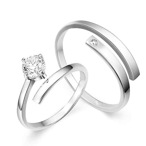 I Jewels Silver Plated 2 Pcs His and Her Adjustable Promise Ring Set Anniversary Engagement Couple Rings for Lovers ( FL157CO)