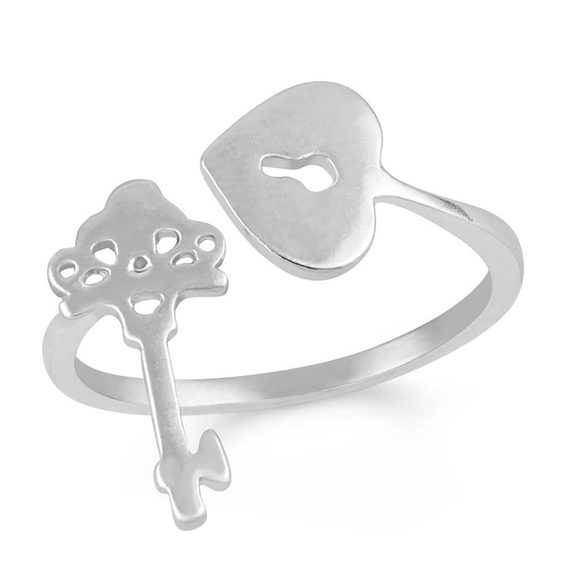 Mahi Heart and Key Adjustable Finger ring