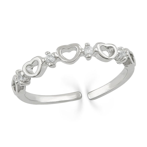 Mahi Adjustable Heart Link Crystal Finger Ring