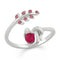 Mahi Leaf Solitaire CZ Adjustable Finger Ring