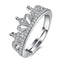 Mahi Rhodium Plated Royal Crown Designer Finger Ring With Cubic Zirconia