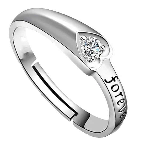 Mahi Rhodium Plated Forever Love Finger Ring With Solitaire Crystal