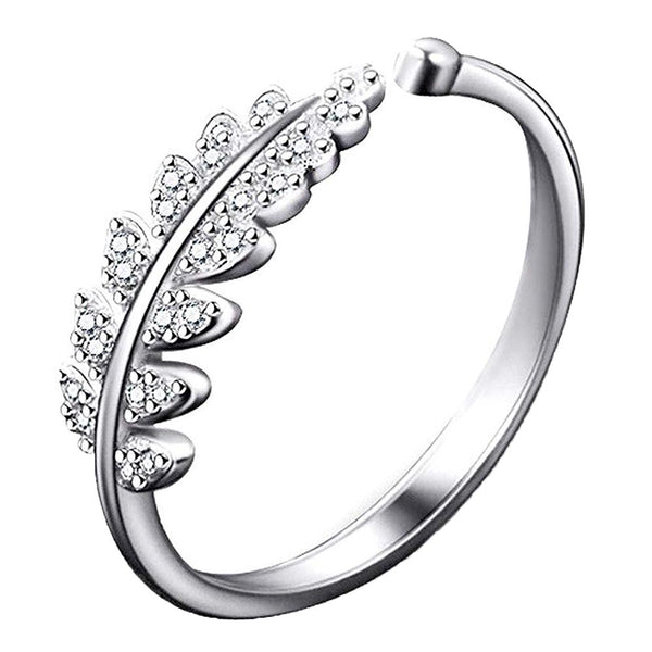 Mahi Rhodium Plated Cute Leafy Adjustable Finger Ring With Crystal