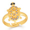 Mahi Gold Plated Tortoise Love Designer Unisex Finger Ring With Crystal Stone