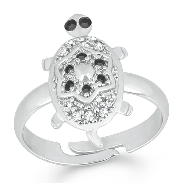 Mahi Rhodium Plated Tortoise Love Designer Unisex Finger Ring With Crystal Stone