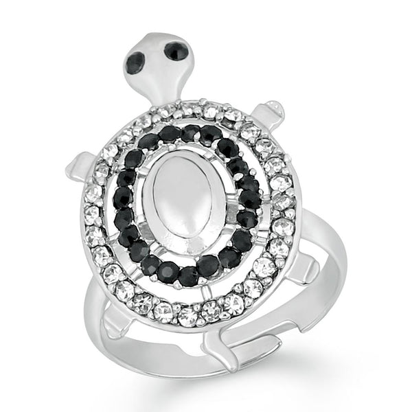 Mahi Rhodium Plated Tortoise Love Designer Finger Ring With Crystal