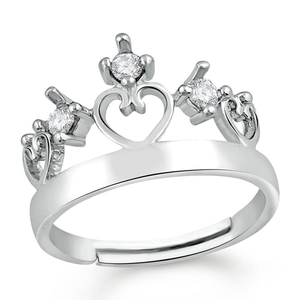 Mahi Exquisite Love Valentine Crystal Finger Ring