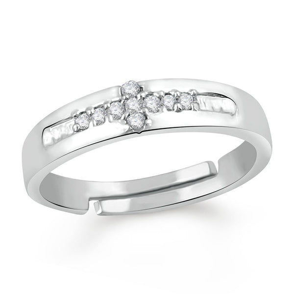 Mahi Valentine Gift CZ Finger Ring For Men & Boys