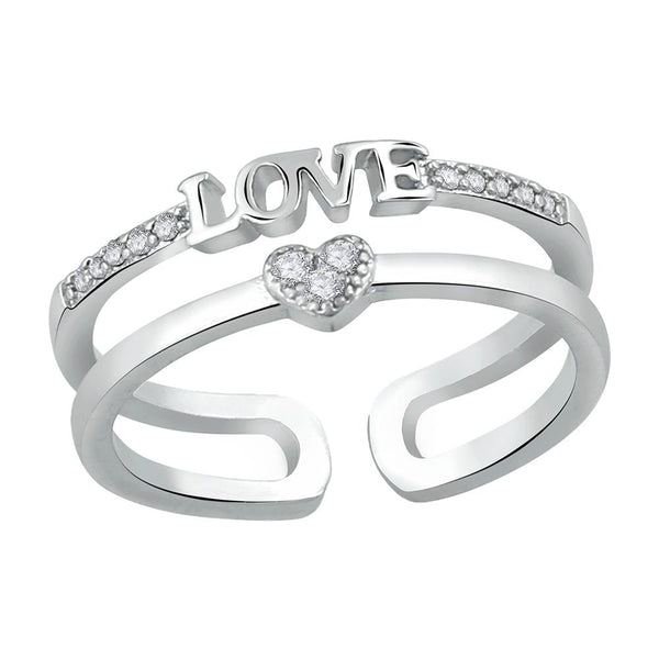 Mahi Valentine Gift Exclusive Designer Love CZ Finger Ring