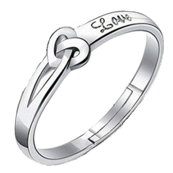 Mahi Heart Love Silver Color Adjustable Finger Ring for Men (FR1103117R)