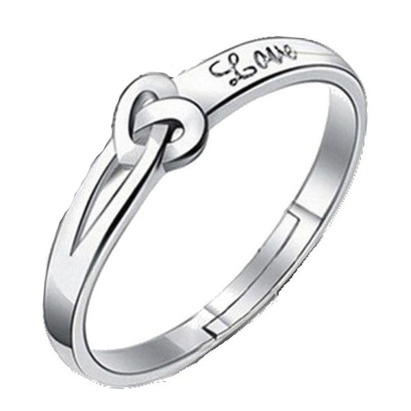 Mahi Heart Love Silver Color Adjustable Finger Ring for Women (FR1103118R)