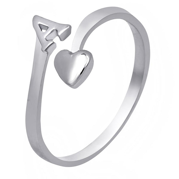 Mahi Rhodium Plated 'A' Initial and Heart Adjustable Finger Ring for Women (FR1103119R)