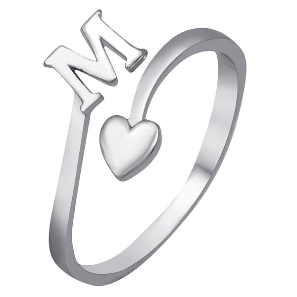 Mahi Rhodium Plated 'M' Initial and Heart Adjustable Finger Ring for Women (FR1103120R)