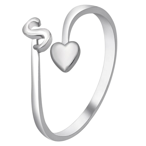 Mahi Rhodium Plated 'S' Initial and Heart Adjustable Finger Ring for Women (FR1103121R)