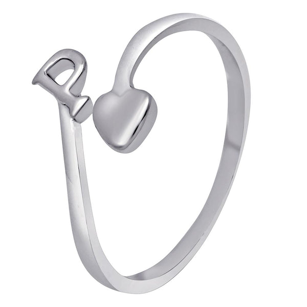 Mahi Rhodium Plated 'P' Initial and Heart Adjustable Finger Ring for Women (FR1103122R)