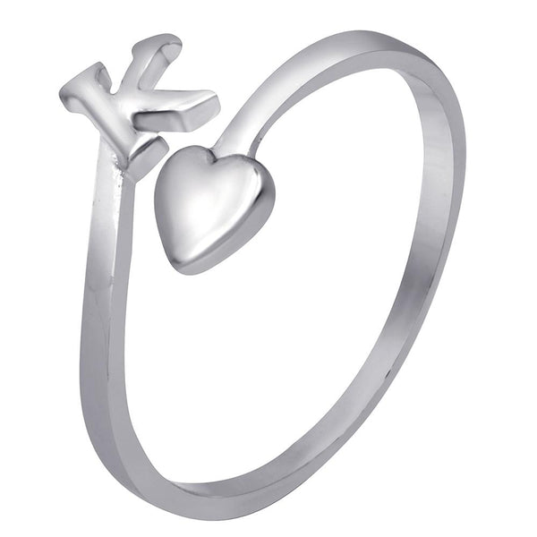 Mahi Rhodium Plated 'K' Initial and Heart Adjustable Finger Ring for Women (FR1103123R)