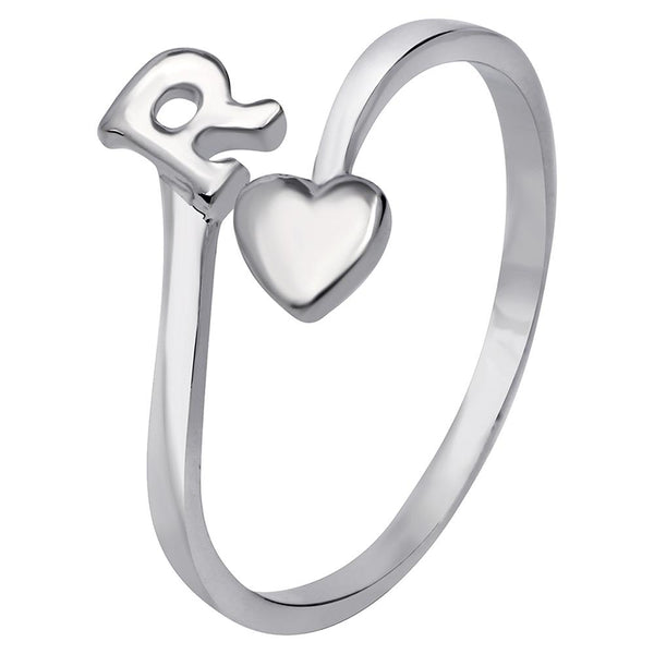 Mahi Rhodium Plated 'R' Initial and Heart Adjustable Finger Ring for Women (FR1103126R)