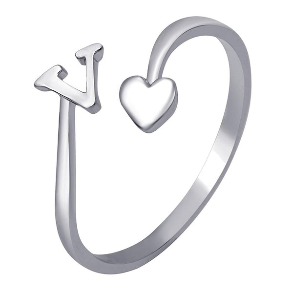 Mahi Rhodium Plated 'V' Initial and Heart Adjustable Finger Ring for Women (FR1103127R)
