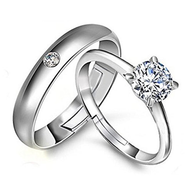 Mahi Rhodium Plated Solitaire Couple Ring Set With Cubic Zirconia and Crystal Stones