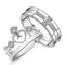 Mahi Rhodium Plated Couple Ring Set With Cubic Zirconia and Crystal Stones