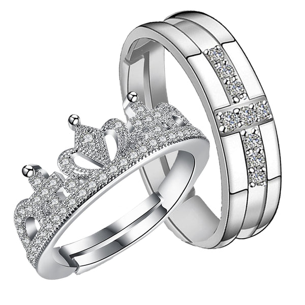 Mahi Rhodium Plated Couple Ring Set With Crystal Stones