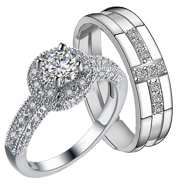 Mahi Rhodium Plated Crystal Stones Couple Rings