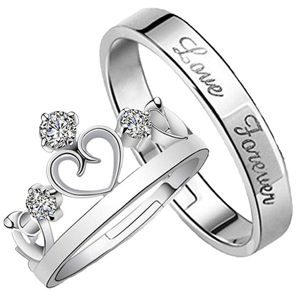 Mahi Rhodium Couple Ring Set With Crystal Stones