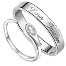 Mahi Rhodium Plated Couple Ring Set With Crystal Stone