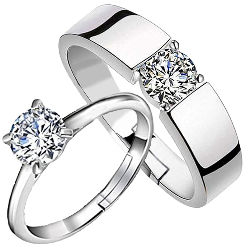 Mahi Rhodium Plated Crystal Stones Couple Ring Set