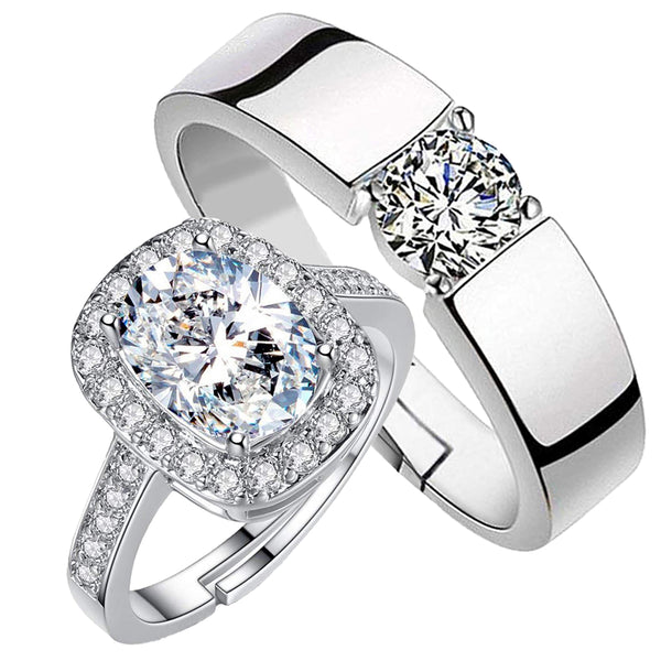 Mahi Rhodium Plated Couple Ring Set With Crystals Stone