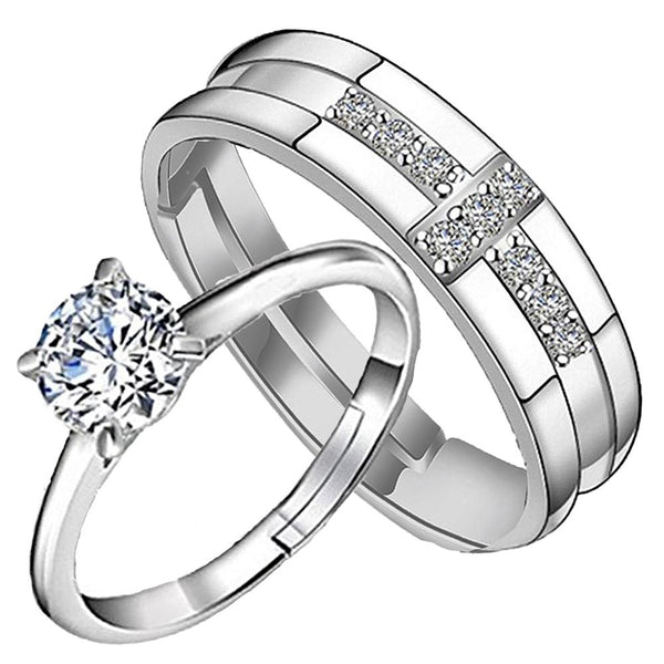 Mahi Valentine Gift Couple Ring Set with Cubic Zirconia