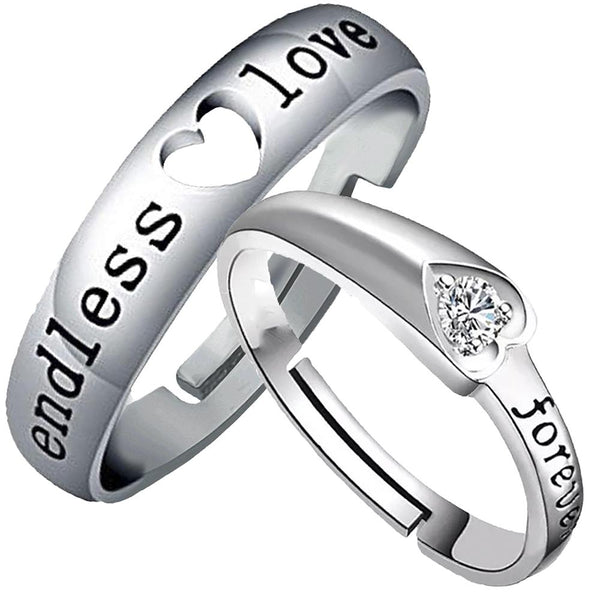 Mahi Rhodium Plated Valentine Gift and Proposal Adjustable Couple Ring with Crystal - FRCO1103096R