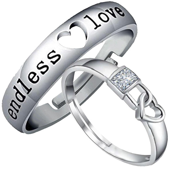 Mahi Rhodium Plated Valentine Gift and Proposal Adjustable Couple Ring with Crystal - FRCO1103098R