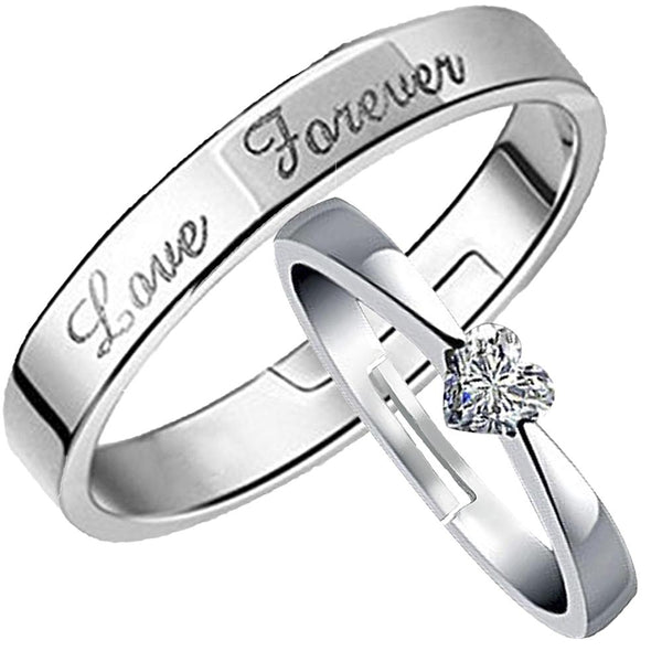 Mahi Rhodium Plated Valentine Gift and Proposal Adjustable Couple Ring with Crystal - FRCO1103099R